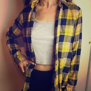 Urban Outfitters UO Yellow and Blue Cotton Flannel